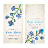 Bridal shower with blue flower ornament Royalty Free Stock Images