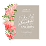 Bridal shower card. Background of siringa flowers. Vector illustration Stock Photo