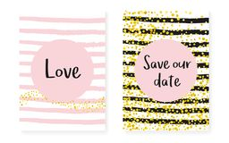 Bridal shower card with dots and sequins. Wedding invitation set Stock Image