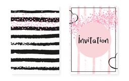 Bridal shower card with dots and sequins. Wedding invitation set Stock Photography