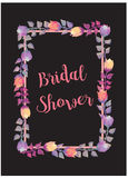 Bridal Shower Card Invitation with watercolor flowers Stock Photo
