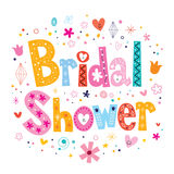 Bridal shower card lettering decorative type design Stock Images
