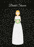 Bridal shower card with smiling happy bride. Woman in glittering fashion wedding dress and silver glitters. Vector illustration, i. Bridal shower card with Royalty Free Stock Photo