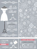 Bridal shower cards.Winter wedding.Dress,pattern. Bridal shower invitation set.Bridal wedding dress.Winter season snowflakes lace pattern,borders,frames,retro Royalty Free Stock Images