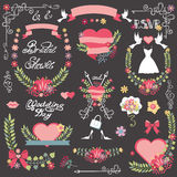 Bridal shower decor kit.Floral wreath,heart.Wedding Royalty Free Stock Photo