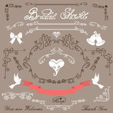 Bridal shower design elements kit Royalty Free Stock Image