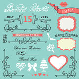 Bridal shower design elements set Royalty Free Stock Photos