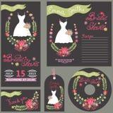Bridal shower design template card set with dress Stock Images