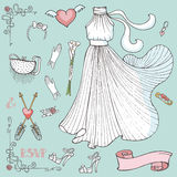 Bridal shower Dress,accessories,decor set.Vintage Stock Photography