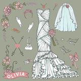Bridal shower Dress,accessories set.Floral Decor Stock Photography