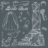Bridal shower Dress,accessories set.Outline Decor Stock Photography