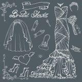 Bridal shower Dress,accessories set.Outline Decor Stock Photography
