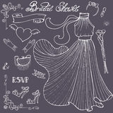 Bridal shower Dress,accessories set.Vintage Royalty Free Stock Photography