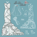 Bridal shower Dress,accessories set.Vintage vector Royalty Free Stock Photos