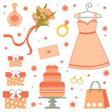 Bridal shower elements. A beautiful bridal shower items Stock Photography