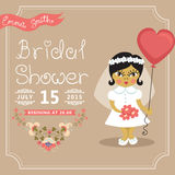 Bridal Shower invitation.Asian baby bride, floral Royalty Free Stock Photo