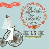 Bridal Shower invitation.Autumn wreath,bride,retro bicycle Royalty Free Stock Photo