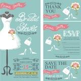 Bridal shower invitation.Bridal dress,bouquet Stock Photography