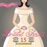 Bridal Shower invitation with bride Stock Photos