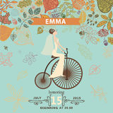 Bridal shower invitation.Bride,retro bicycle, Stock Images