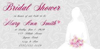 Bridal shower invitation with brides silhouette Stock Images