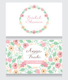 Bridal Shower invitation card. Beautiful floral design, vector illustration Stock Photo