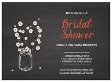 Bridal Shower Invitation card. With branch Stock Photography