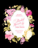 Bridal shower invitation. Card with calligraphic text, vintage floral invitation for spring or summer bridal shower. Vector illustration Stock Image