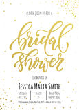 Bridal Shower invitation card template. Classic gold calligraphy  lettering. White background with golden glittering dot pattern decoration Stock Image