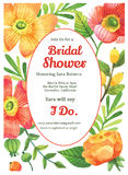 Bridal Shower Invitation Card Template. With floral design vector illustration
