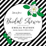 Bridal shower invitation card template with hand drawn gardenia flowers. Bridal shower invitation card template with hand drawn gardenia flowers and diagonal Stock Photography