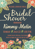 Bridal Shower Invitation Card Template. With Vintage Floral Design Royalty Free Stock Images