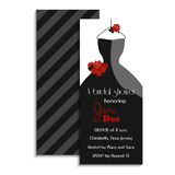 Bridal shower invitation card. Vector illustration. Classic design with wedding dress and roses. Party accessory. Noir style Royalty Free Stock Photography