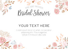 Bridal Shower Invitation. Cute pink floral bridal shower invitation template Royalty Free Stock Images