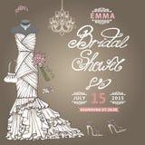 Bridal Shower  invitation.Cute wedding dress Stock Image