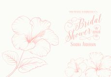 Bridal shower invitation. With exotic flowers. Vector illustration Stock Photos