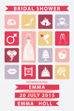 Bridal shower  invitation with Flat icons,wedding Royalty Free Stock Photography
