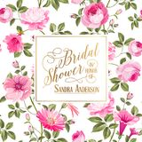 Bridal Shower invitation with flowers. Marriage design template with custom names in frame over white background. Vector illustration Royalty Free Stock Photos