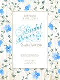Bridal Shower invitation. Bridal Shower invitation with flowers over wooden pattern. Vector illustration Stock Photography