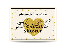 Bridal shower invitation with gold glitter heart and dots Royalty Free Stock Photos