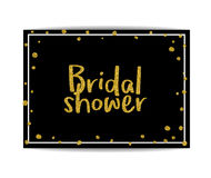 Bridal shower invitation with gold glitter text and dots Royalty Free Stock Image