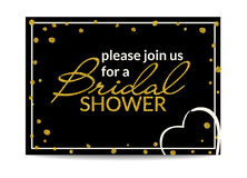 Bridal shower invitation with gold glitter text and dots Stock Image