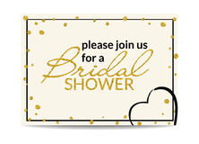 Bridal shower invitation with gold glitter text and dots Royalty Free Stock Photo