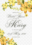 Bridal Shower Invitation with hibiskus flowers. Background stock illustration
