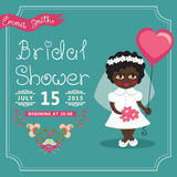 Bridal Shower invitation.Mulatto baby bride, Stock Image