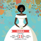 Bridal shower invitation.Mulatto bride and autumn Stock Photo