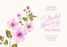 Bridal shower invitation. With sakura flowers. Vector illustration Royalty Free Stock Image