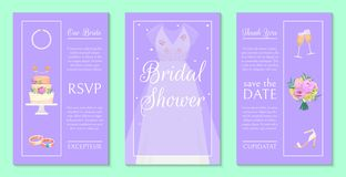 Bridal shower invitation set of banners vector illustration. Save the date. Wedding accessories such as flower bouquet stock illustration