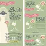 Bridal shower invitation set.Bridal dress,bouquet Royalty Free Stock Photo