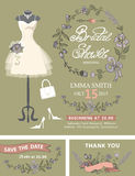 Bridal shower invitation set .Bridal dress,floral Stock Images